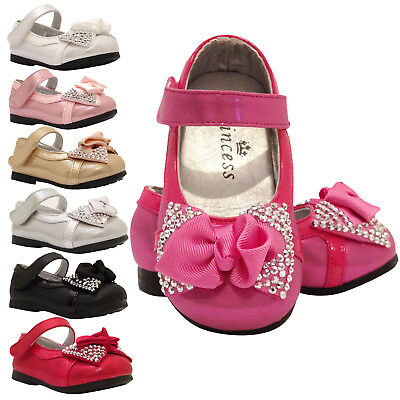 Baby Girls Bow Wedding Bridesmaid Party Shoes 9 -12 12- 24 Months Infant 5 6