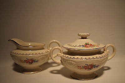 Vintage Homer Laughlin 1940's Marigold, Nola Rose M207 Creamer & Sugar Egg Shell