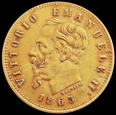 1863 T Bn Gold Italy 5 Lire Vittorio Emanuele Ii Coin Extremely Fine Condition