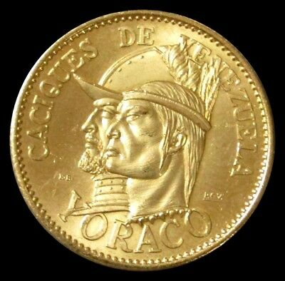 1955 Gold Venezuela 60 Bolivares Yoraco Caciques Indian Chief 22.2 Gram Coin