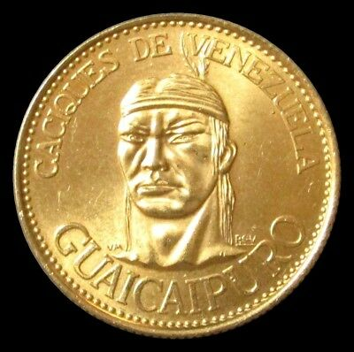 1955 Gold Venezuela 60 Bolivares Guaicaipuro Caciques Indian Chief 22.2 Gram