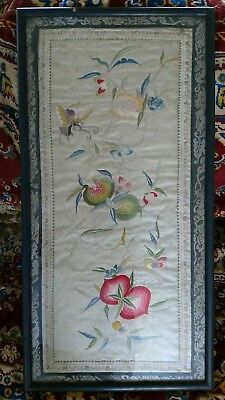 Antique Chinese Framed Floral Butterflies Embroidery