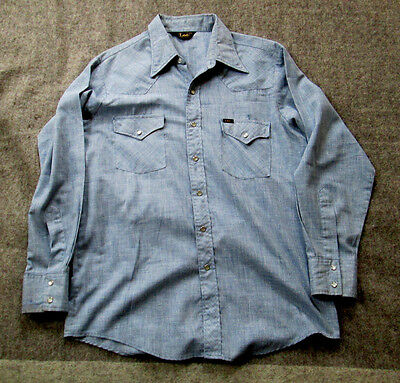 vintage lee chambray western shirt pearl snaps 1970's xl
