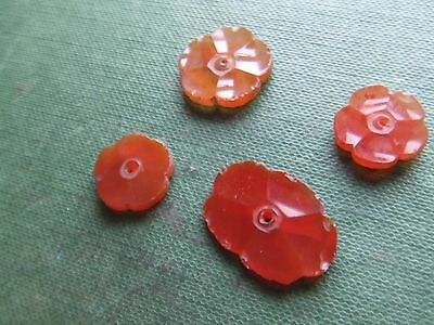 Chinese.   Cornelian.   4, Carved Flowers      Nice Condition.