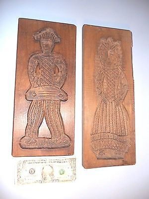 Two  Danish Vintage Cookie  Molds Carved Wood Kitchen Wall Plaques Denmark