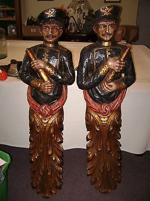 Hand Carved Tobacco Figures , Old, Near  Pristine