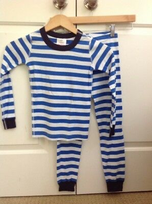 NWT Hanna Andersson Organic Cotton Blue Striped PJ Set - Size 120 6-7 Yrs