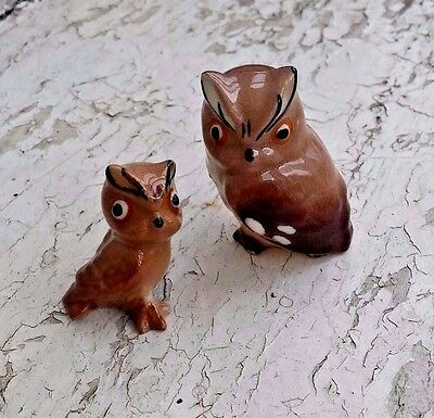 Vintage Ceramic Miniatures Owl Family Mother and Baby