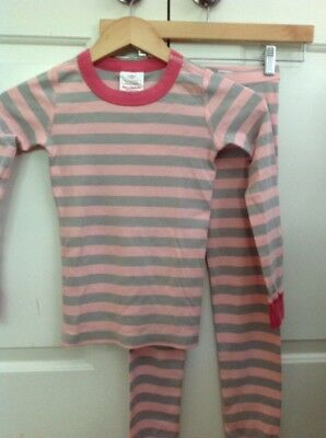 NWT Hanna Andersson Organic Cotton Pink Striped PJ Set - Size 120 6-7 Yrs
