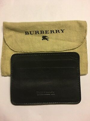 Burberry Solid Black Leather Card Case