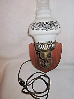 Eagle Hurricane Glass Shade Vintage Wooden Electric Wall Sconce Light Fixture