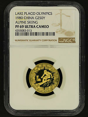 1980 China Gold 250 Yuan Lake Placid Olympics Alpine Skiing NGC PF-69 UC -155572