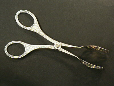 Antique Norway Scissor Tongs, Vintage Silver Plate, 162mm, NYSOLV #G7027