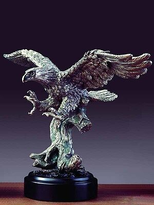 """Handcrafted Eagle Pewter Figurine Statue 15"""" x 9.5"""""""
