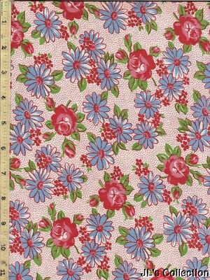 Blue Daisies Pink Dot Background Pink Red Flowers FULL FEEDSACK