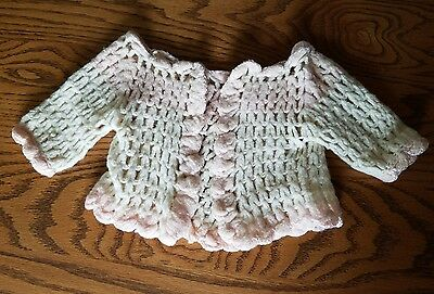 Antique Soft Wool Baby Girls Handmade Baby Sweater Cream Pink