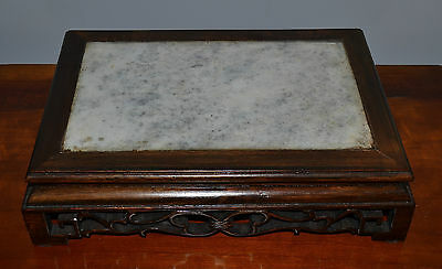 Old or Antique Chinese Hardwood and Marble Stone Table-Top Platform Stand