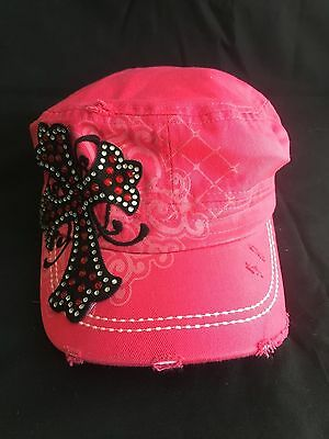 WESTERN Cowgirl Embroidered Rhinstone Cross Bling Cadet Style Cap - Pink