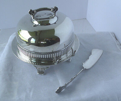 Silver Plate Covered Butter Dish & Knife - Pairpoint  #532