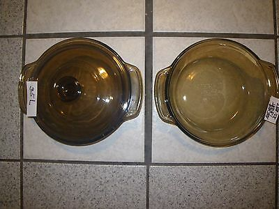 Vtg 3 Piece Anchor Hocking Amber Brown Glass Casserole Dish w/ Lid 1.5 Qt. #1037