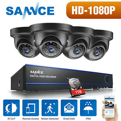 SANNCE 1080P 8CH DVR 2MP Video Dome Security AHD Camera System Metal Outdoor 1TB