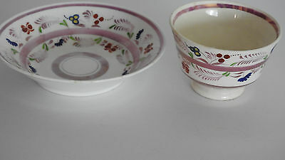 Antique - Pink Luster - Soft Paste - Handleless Cup & Saucer
