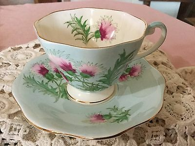 Eb Foley Bone China  Cup And Saucer England    Glengarry Thistle Pattern