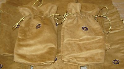 50 Crown Royal Reserve Gold Suede Fabric Bags W/metallic Rope Drawstring 1.75L