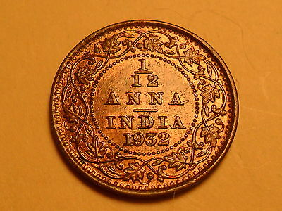 """1932  Beautiful India 1/12 Anna """"george V King"""" """"emperor"""" Red Brown Coin!!"""