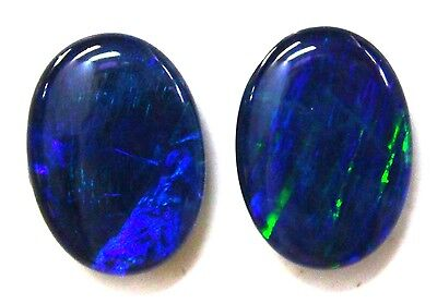 18x13mm Loose Stones Pair Of Natural Black Triplet Opal Stones For Earring #98