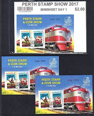 2017 PERTH STAMP & COIN SHOW  MINIATURE SHEETS set of 3 only 100 set rare!!!!!