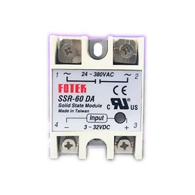1pc Solid State Relay SSR-60DA 60A 3-32VDC/24-380VAC DC TO AC