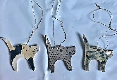 3 Pottery Cat Ornaments Ceramic Painted USA Hand Crafted
