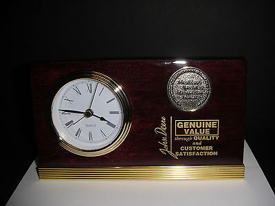Rare John Deere Tractor Employee President Award Desk Top Clock with Medallion