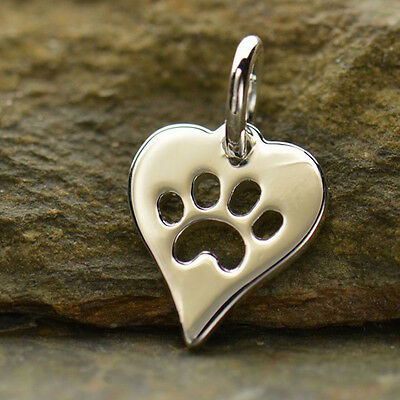 Sterling Silver Dog Paw Charm Necklace Cat Paw Pendant Animal Lover Pet 1161