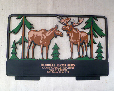 ~ HUBBELL BROTHERS Kelly Corners Margaretville NY Plaque ~ 1970s? ~ MOOSE