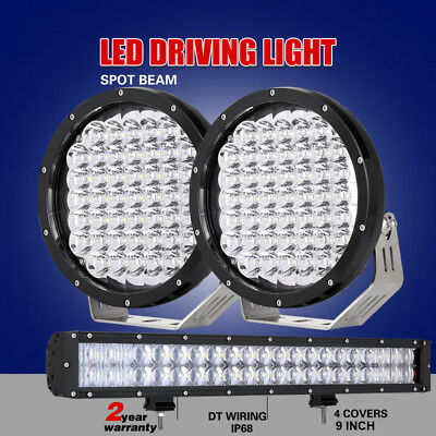 Pair 9 inch CREE Round Spotlights+20 inch LED Light Bar Black Combo Offroad 4X4