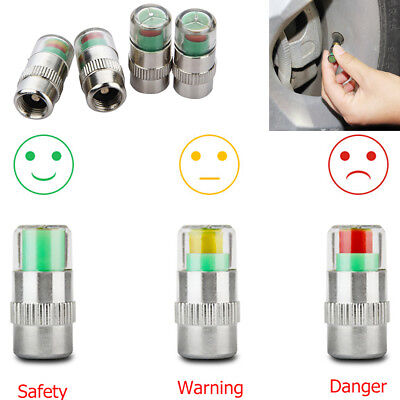 4x Tire Pressure Detecting Caps Visible Car Accessories Alarm Monitor Indicator
