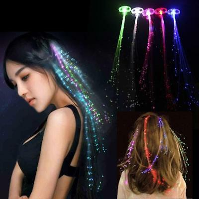 1X LED Hair Extensions Girls Party Gift Clip Pony Tail Fiber Optic Light Up