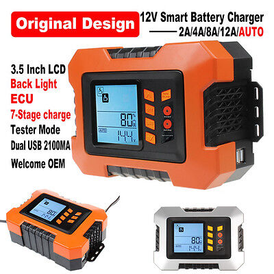 12V Digital Automatic Smart 2A-12A UpTo 5.0L Car Battery Charger Analyser Tester