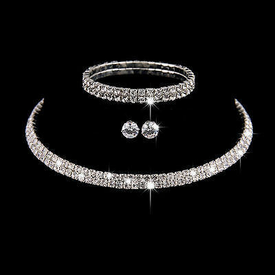 Rhinestone Crystal Choker Necklace Earrings and Bracelet Wedding Jewelry Sets UK