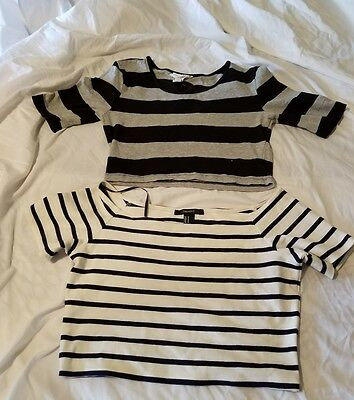 Lot of 2 forever 21® short sleeve crop shirts striped size medium