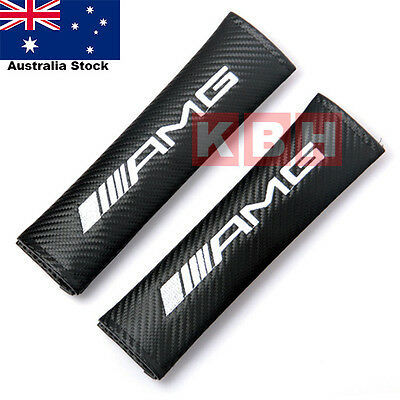2pcs Carbon Fiber Texture Seat Belt Shoulder Pad Cover fits Mercedes Benz AMG
