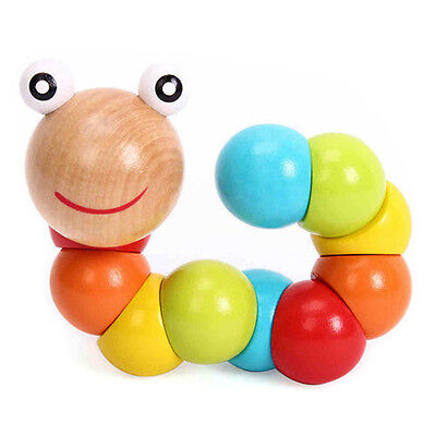 Cute Baby Kids Twist Caterpillars Wooden Toy Creative Educational Gift US STOCK
