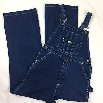 Key Boys Girls Bib Overalls Denim Dark Wash Youth Zipper Fly L Size 16
