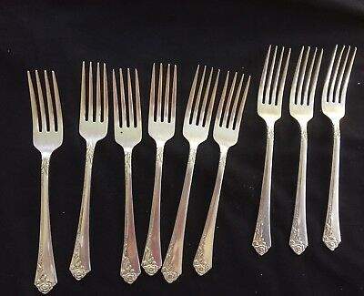 Forks  X  9 - Oneida - 5 Entree And 4 Dinner Silverplate - In Vg Cond.