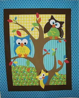 BABY COT QUILT PANEL BRIGHT OWL by SPRINGS