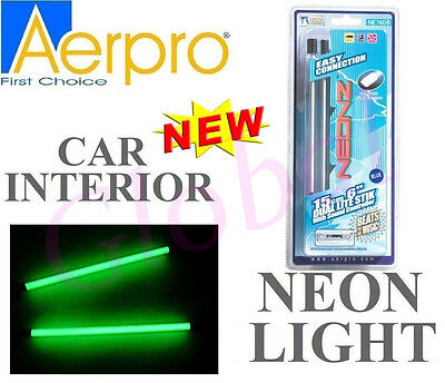 "Aerpro NE76DG 6.3"" 160MM GREEN DUAL THIN NEON LIGHT ROD CAR INTERTIOR w/ Adapter"