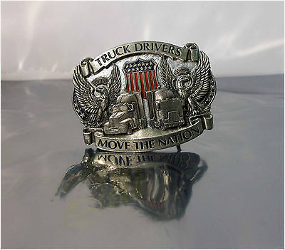 """Vintage THE GREAT AMERICAN BUCKLE CO """"TRUCK DRIVERS MOVE THE NATION"""" BUCKLE"""