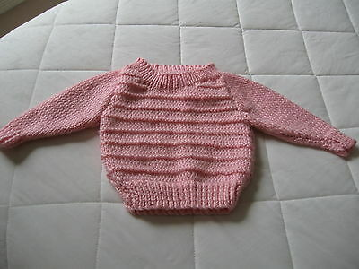 Baby Jumper   Colour Pink  Soft Wool Machine Washable Hand Knitted Fit New Born